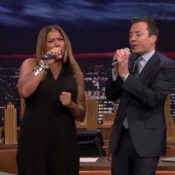 Queen Latifah в рамках шоу Jimmy Fallon, под бит-бокс исполнили трек Young MC