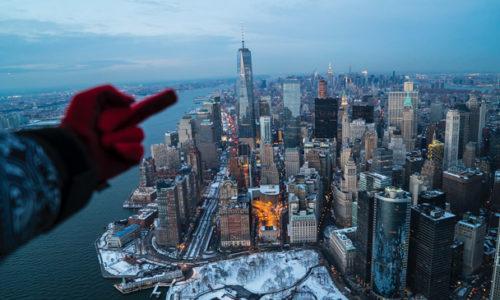 Как выглядит зимний Нью-Йорк с вертолёта. Смотрим.