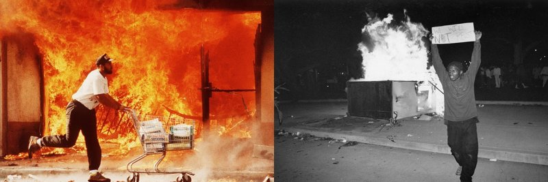 """(Published in special section May 12,1992) ññ April 30, 1992ññ The second day of the Riots on 3rd street I photographed this guy running past a burning Jon's market with a shopping cart full of diapers. I affectionately call this image """"A Huggies Run""""."""