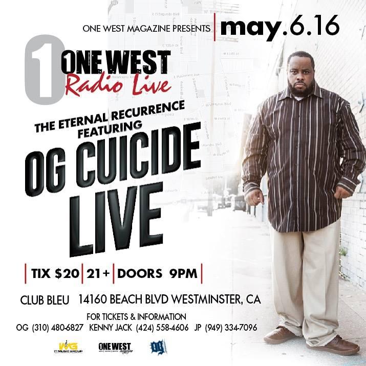 6 мая OG Cuicide даст концерт в Калифорнии, трансляцию с которого также можно будет посмотреть онлайн!