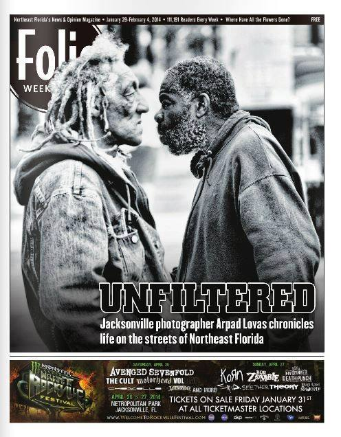 Front cover of the local Jacksonville, Florida magazine that featured Arpad's photography. (Photo taken by Arpad Lovas) The magazine is called Folio