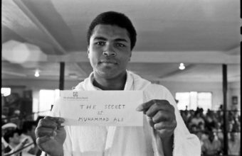 "Ali shows off his ""secret,"" February, 1971."