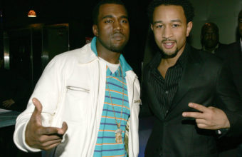 NEW YORK- FEBRUARY 7: R&B musician John Legend (right) and producer/rapper Kanye West at the Kanye West/John Legend GOOD Music launch party, February 7, 2005 at Duvet in New York City. (Photo by Frank Micelotta/Getty Images).