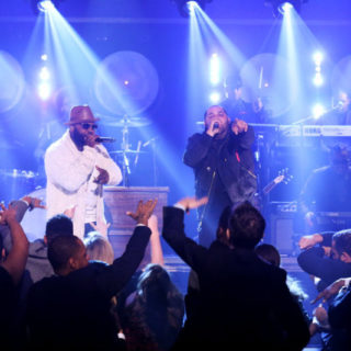 """THE TONIGHT SHOW STARRING JIMMY FALLON -- Episode 0584 -- Pictured: (l-r) Rappers Tariq """"Black Thought"""" Trotter and Joell Ortiz perform a piece from """"The Hamilton Mixtape"""" on December 05, 2016 -- (Photo by: Andrew Lipovsky/NBC)"""